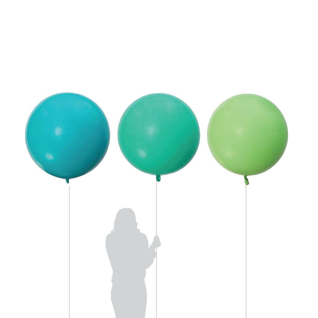 Jumbo Tropical Teal, Lime, Wintergreen Balloon 90cm (3 Pack)-Party Love
