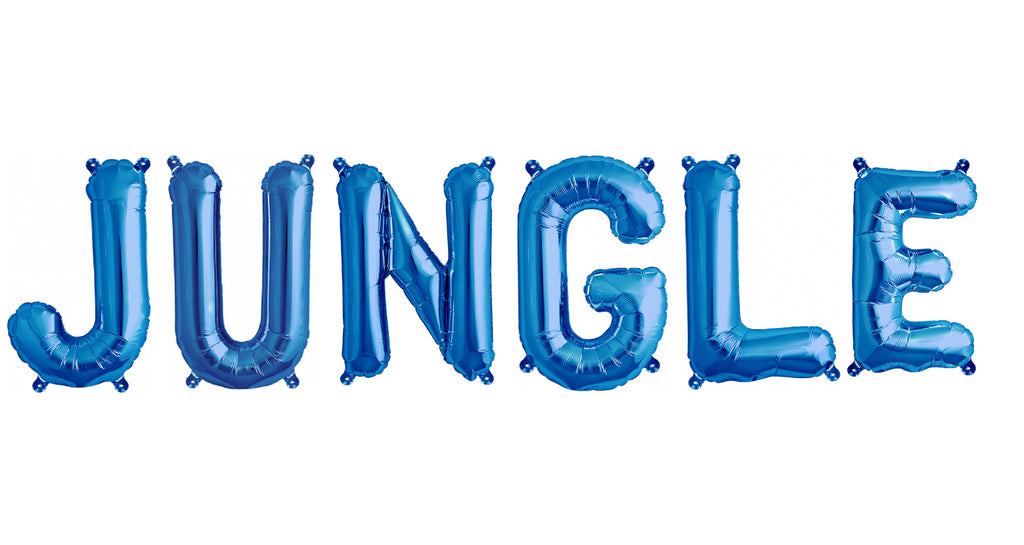 "40cm (16"") Jungle Letters Blue Foil Balloons-Party Love"