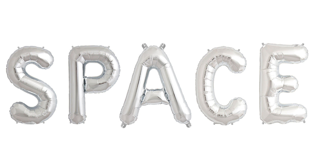 "40cm (16"") Space Letters Silver Foil Balloons-Party Love"