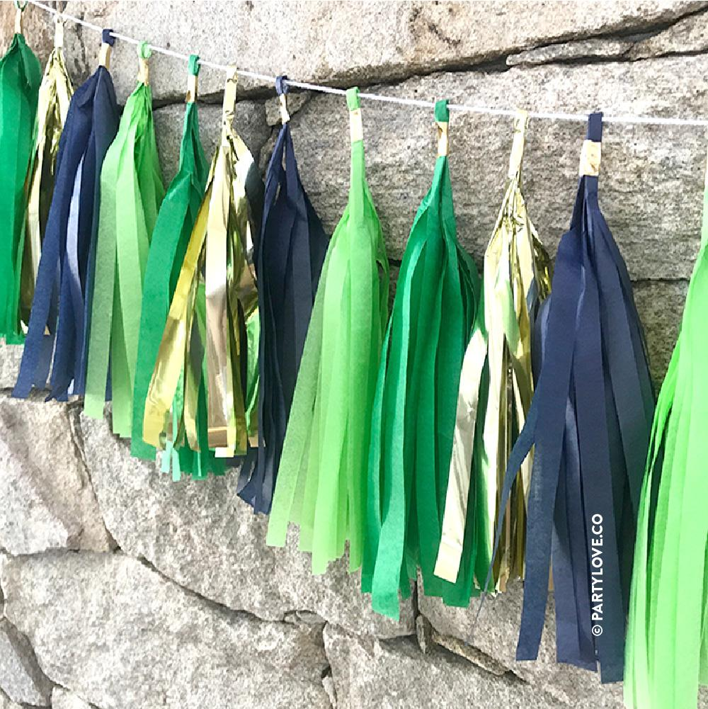 Jungle Glam – Apple, Kelly Green, Gold & Navy Tassel Garland-Party Love