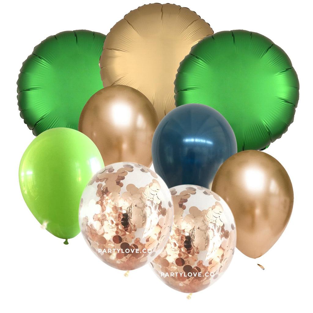 Jungle Glam Gold, Green, Navy Luxe Chrome Balloon Bouquet (9 Pack)-Party Love