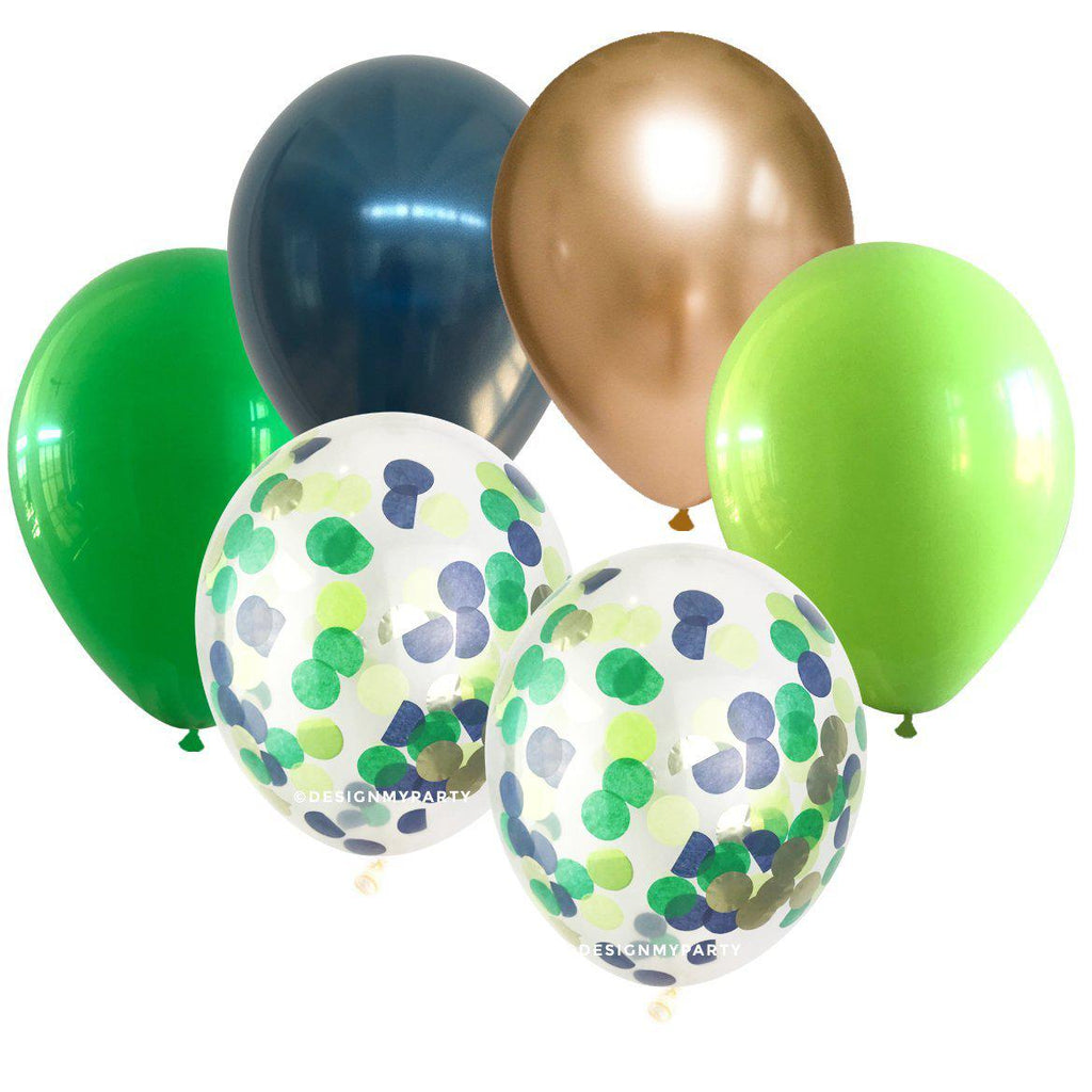 Jungle Glam – Mix Green, Navy, Chrome Gold with 2 Confetti Balloon Bouquet (12 Pack)-Party Love