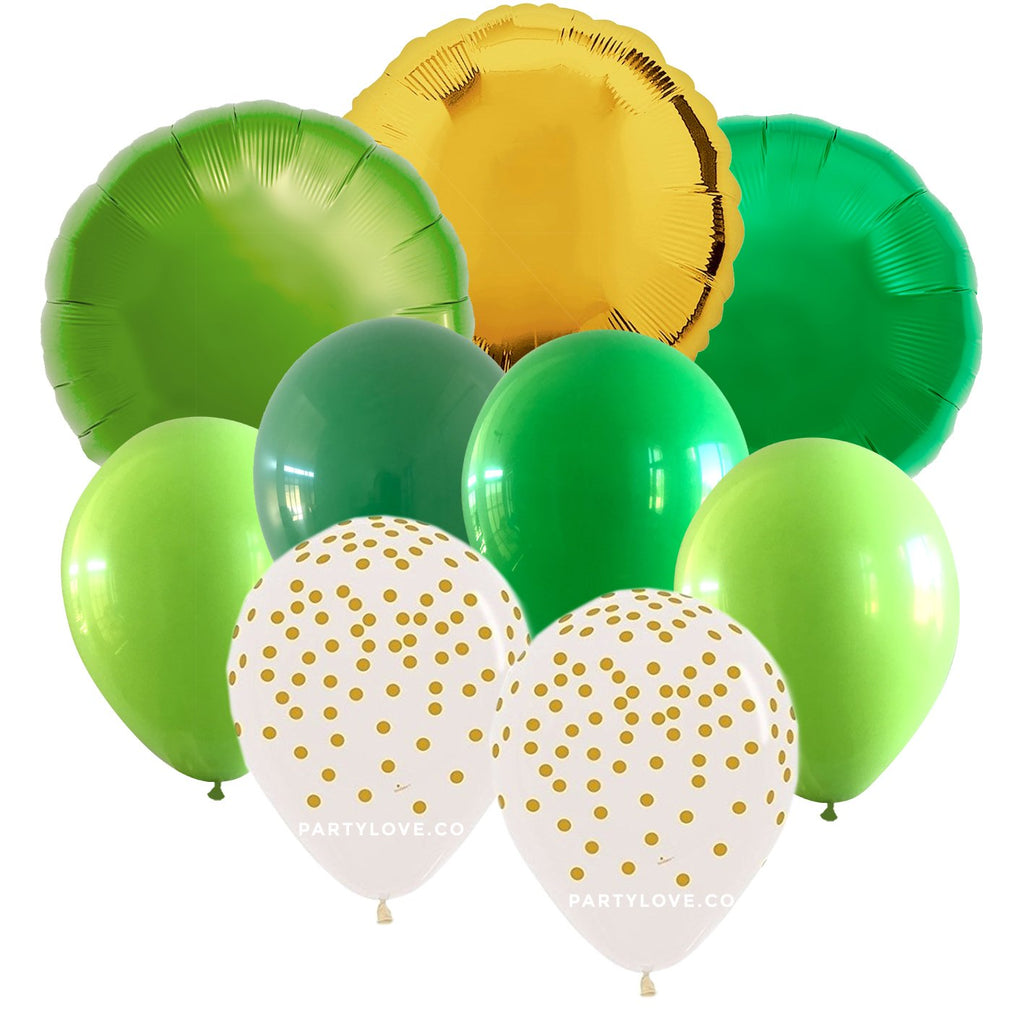Jungle – Luxe Gold, Lime, Green, Chrome Balloon Bouquet (9 Pack) 9/72-Party Love
