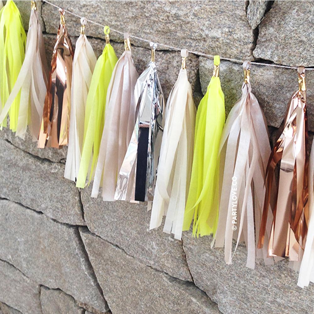 Lemon Twist Glam Tassel Garland, Limon Rose Gold Copper Tissue Garland-Party Love