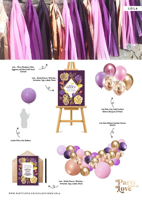Lola – Plum, Raspberry Pink, Eggplant and Rose Gold Tassel Garland-Party Love