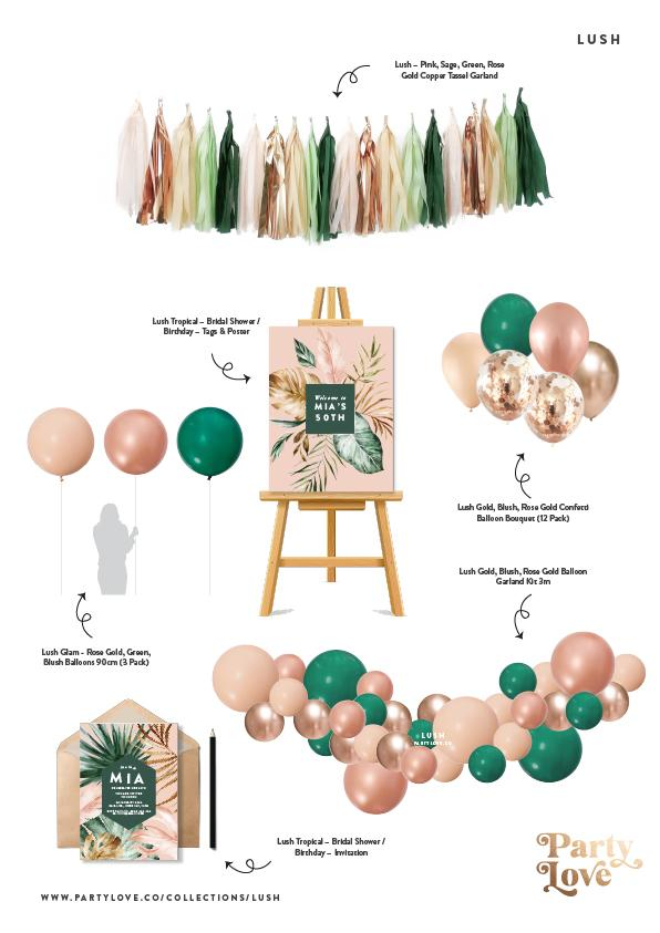 Lush Gold, Blush, Rose Gold Confetti Balloon Bouquet (12 Pack)-Party Love