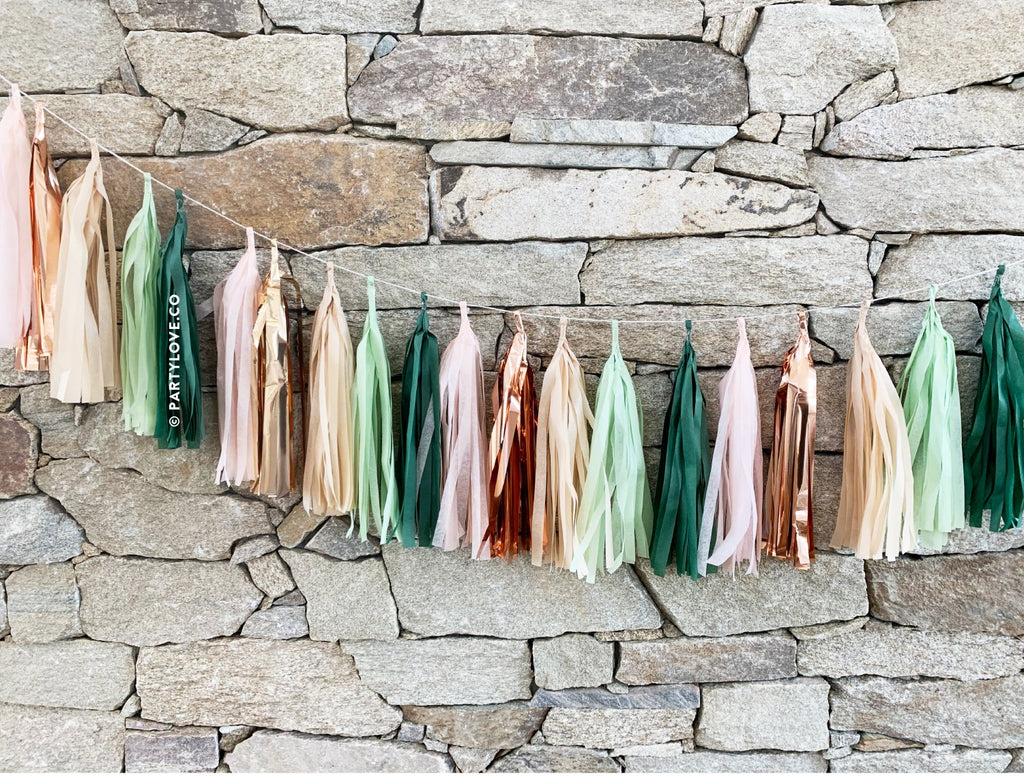 Lush – Pink, Sage, Green, Rose Gold Copper Tassel Garland-Party Love
