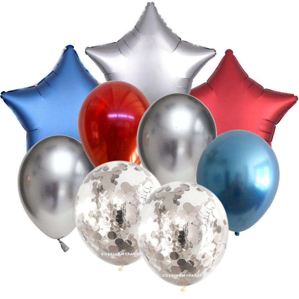Luxe Space Star Balloons Balloon Bouquet (9 Pack)-Party Love