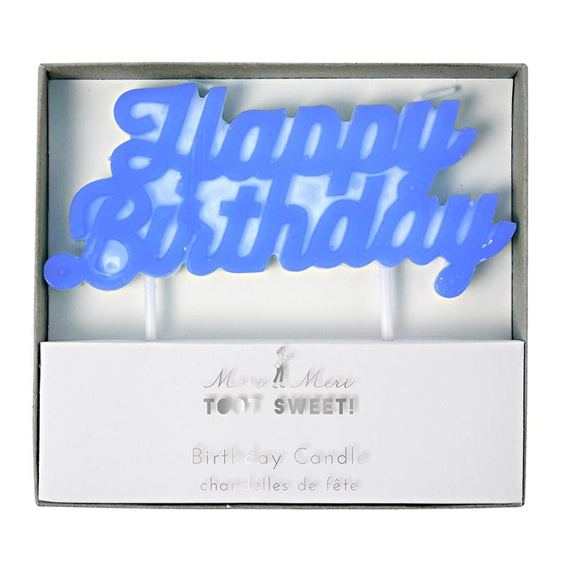 Meri Meri Blue Happy Birthday Candle-Party Love Australia