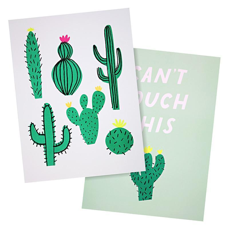 Meri Meri Cactus Art Prints (Green) (2 Pack)-Party Love
