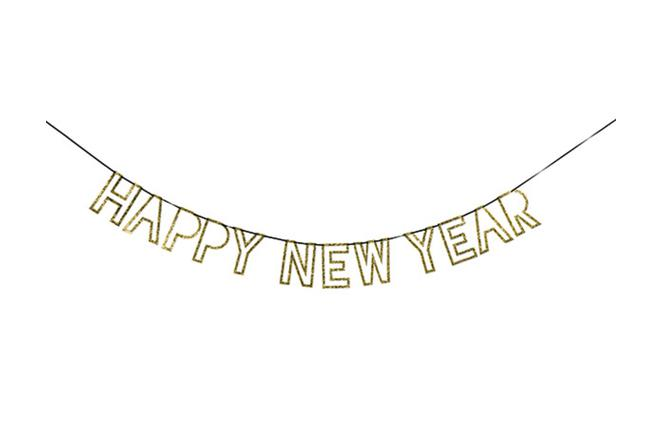 Meri Meri Gold Glitter Happy New Year Garland-Party Love