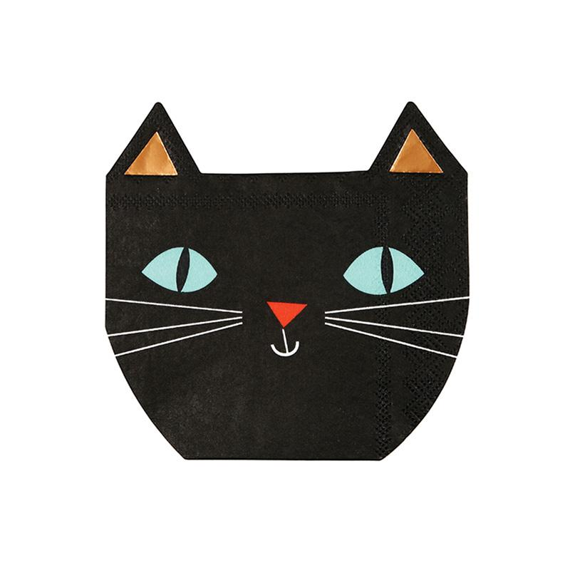 Meri Meri Halloween Black Cat Napkins-Party Love
