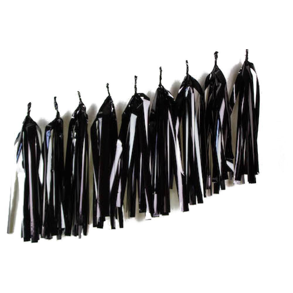 Metallic Black Tassels (Pack of 9)-Party Love