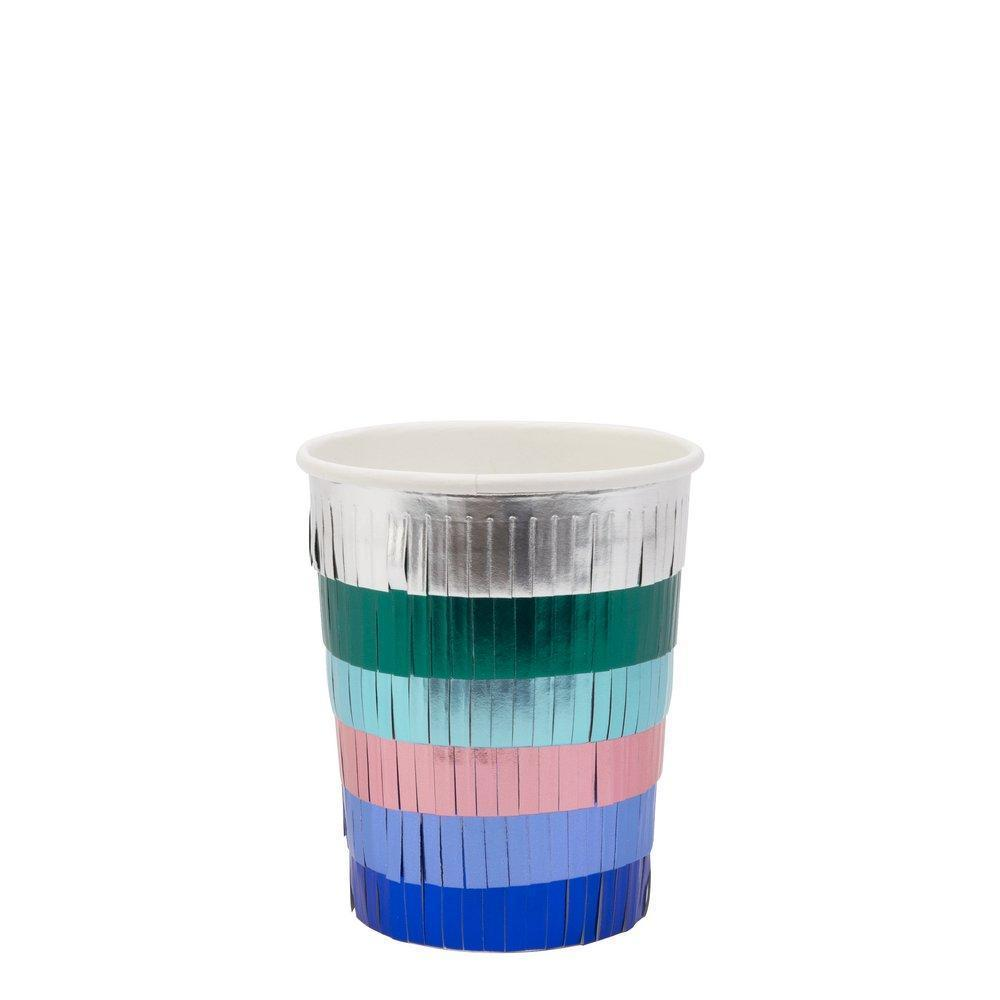 Metallic Fringe Party Cups-Party Love