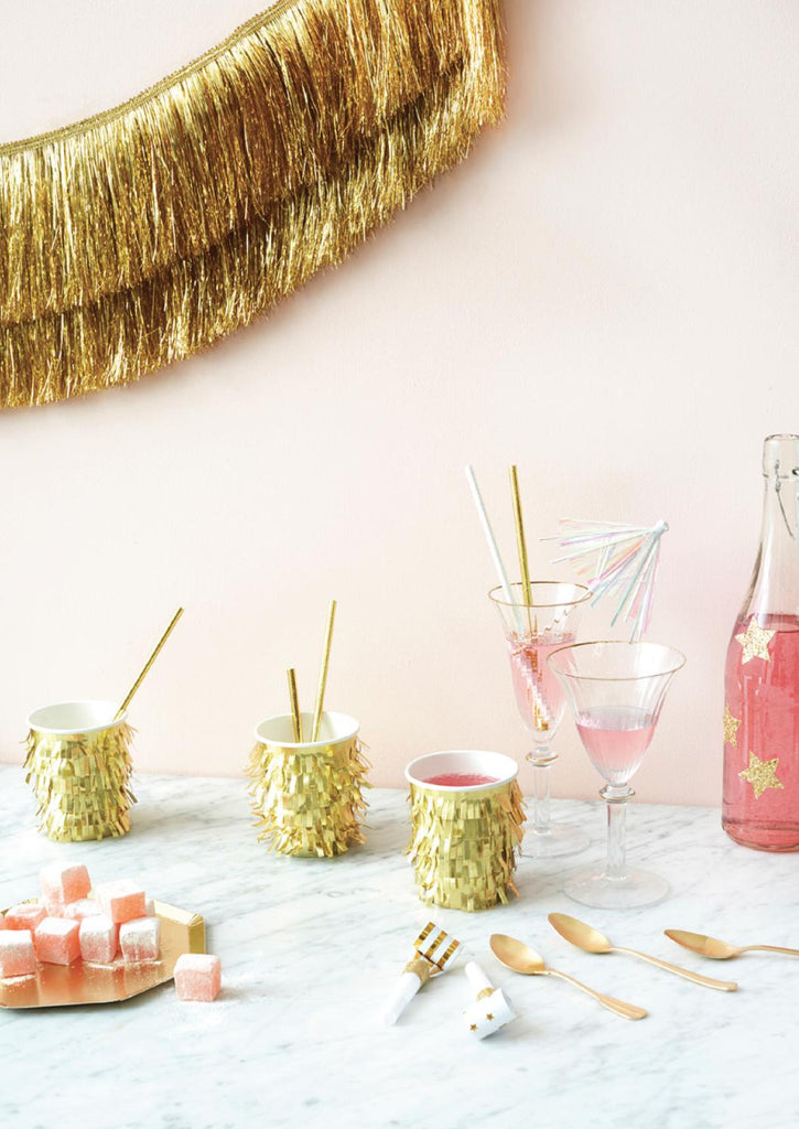 Metallic Gold Fringe Party Cups-Party Love