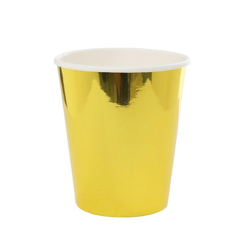 Metallic Gold Paper Cups (10 Pack)-Party Love