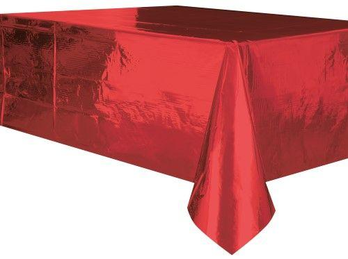 Metallic Red Tablecover 137x274cm-Party Love