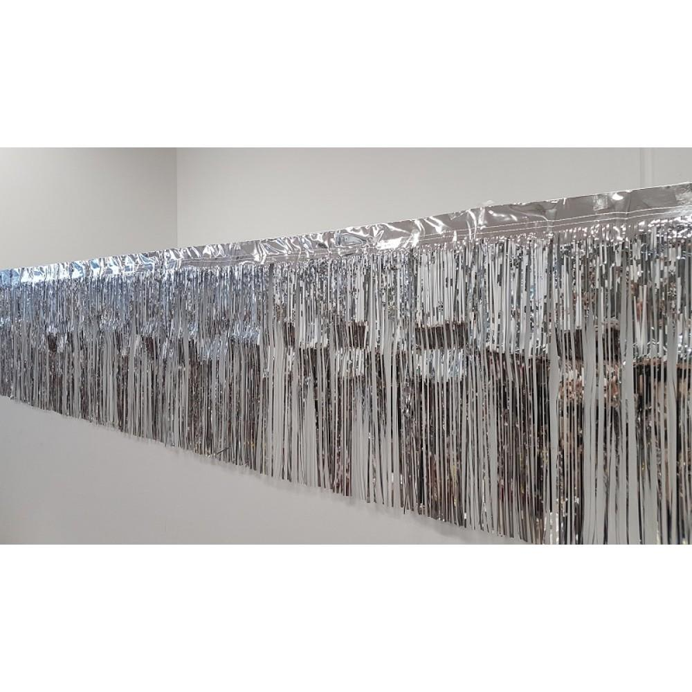 Metallic Silver Fringe (50cm x 2.5m)-Party Love