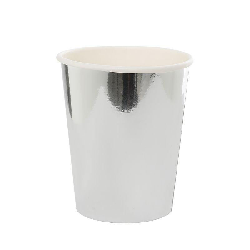 Metallic Silver Paper Cups (10 Pack)-Party Love