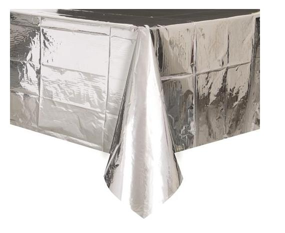 Metallic Silver Tablecover 137x274cm-Party Love