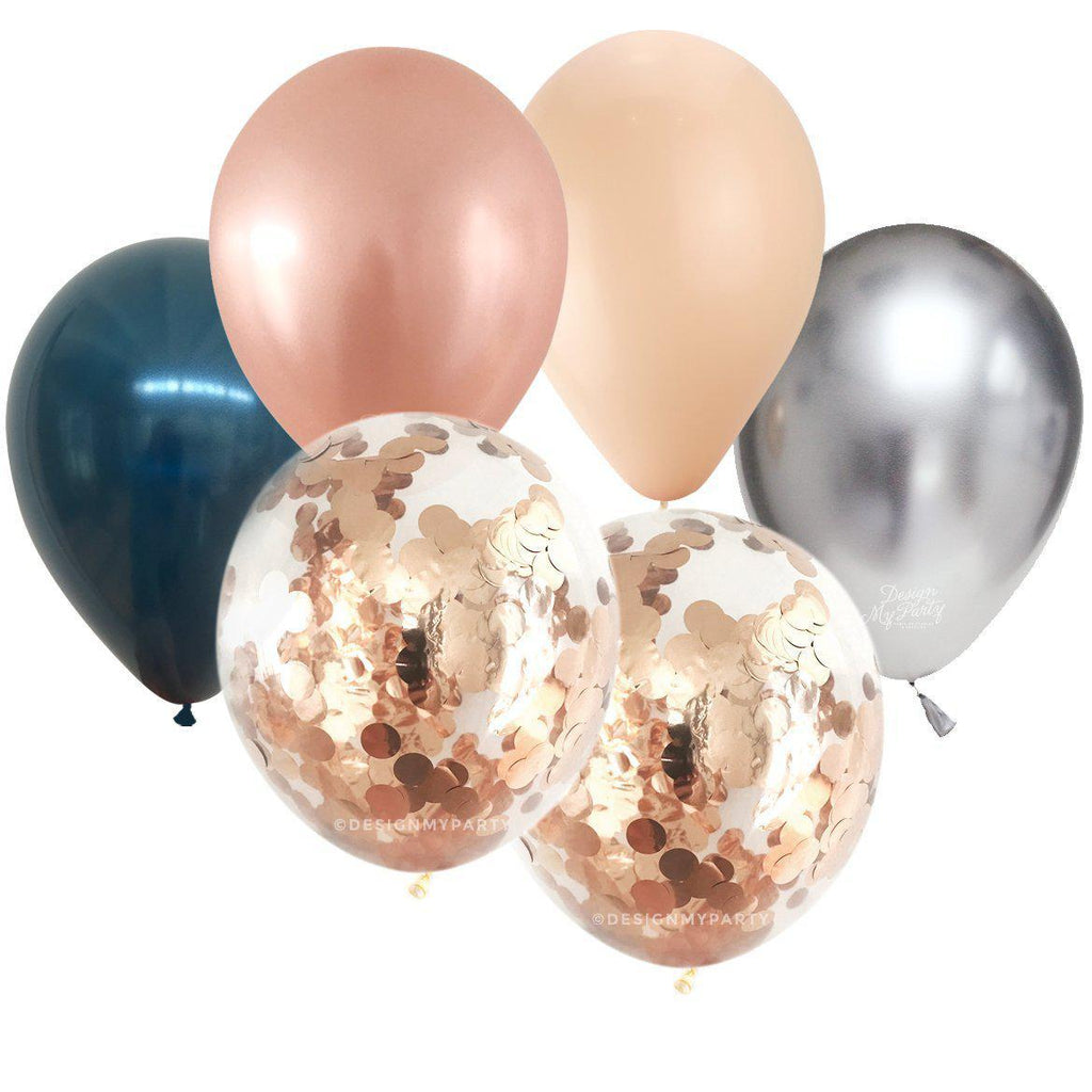 Midnight Blush Confetti Balloon Bouquet (12 Pack)-Party Love