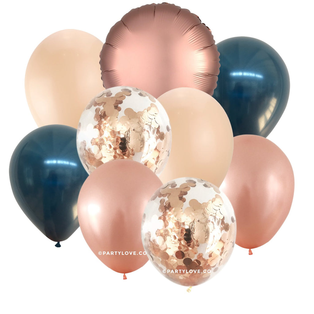 Midnight Blush Glam – Luxe Chrome Confetti Balloon Bouquet (9 Pack)-Party Love