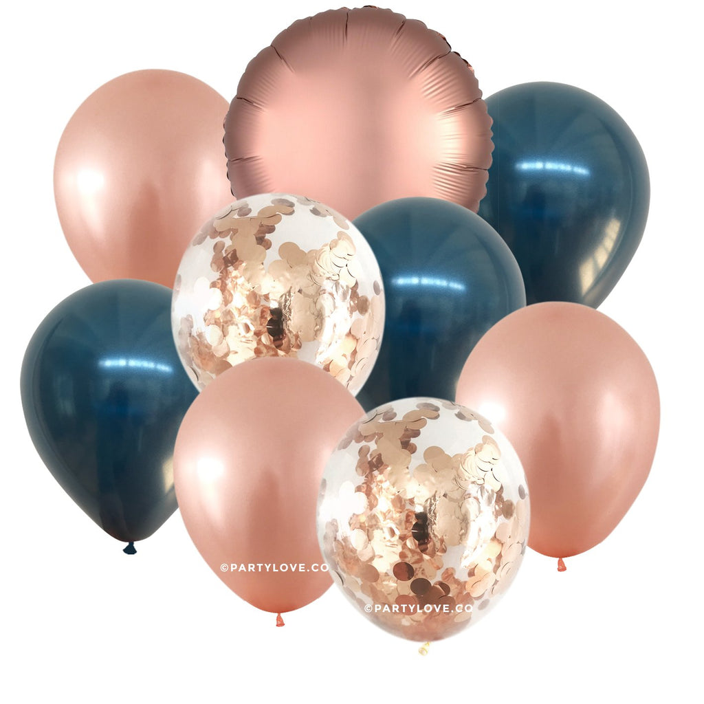 Midnight Blush Glam – Navy, Rose Gold Confetti Balloon Bouquet (9 Pack)-Party Love