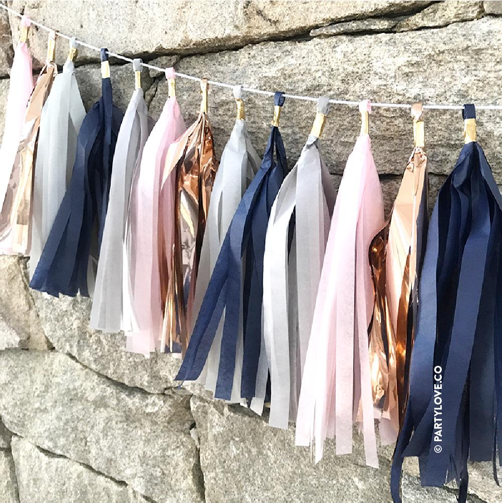 Midnight Blush Glam - Rose Gold Copper, Blush Pink, Grey & Navy Tassel Garland-Party Love