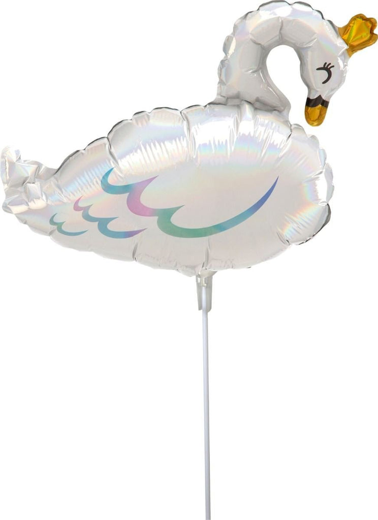 "Mini Shape 14"" 35cm Swan Foil Balloon.-Party Love"