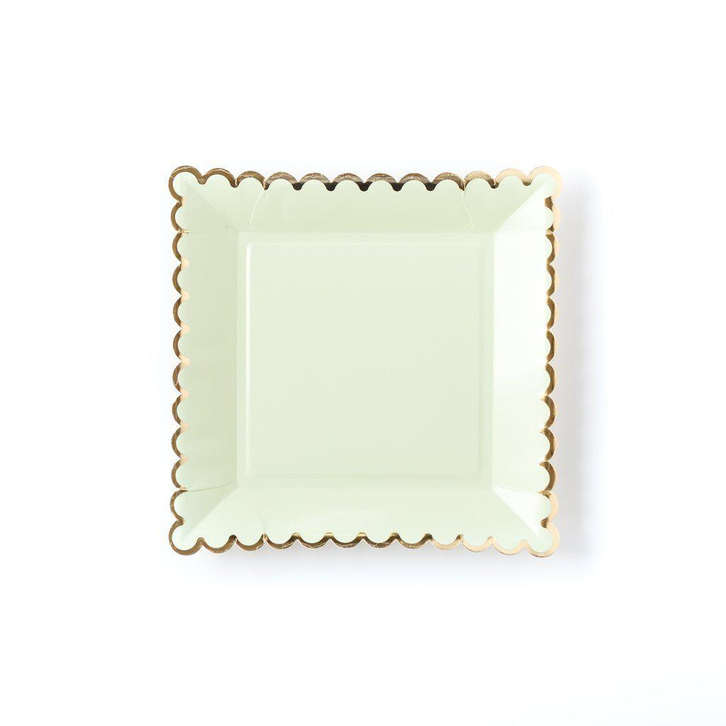 Mint Gold Large Square Party Plates (12 Pack)-Party Love