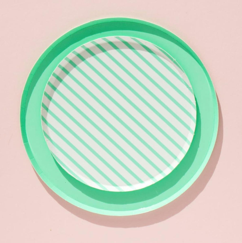 Mint Paper Party Plates (Large)-Party Love
