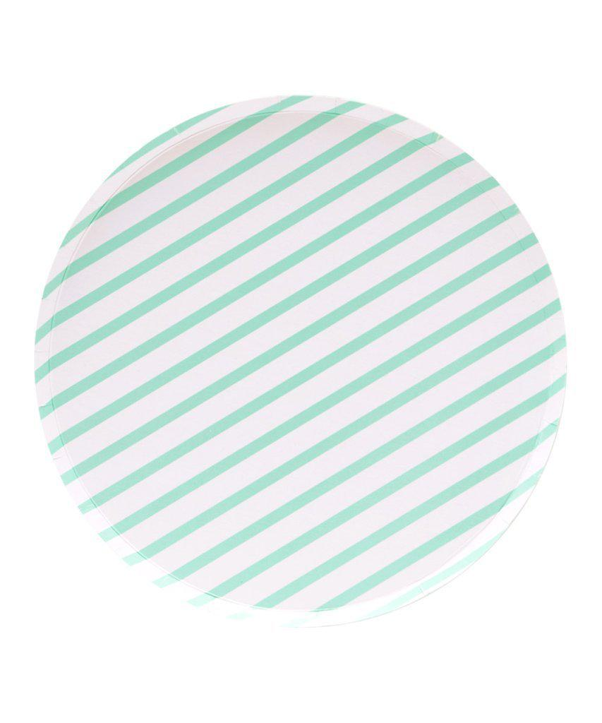 Mint Stripe Paper Party Plates (Large)-Party Love