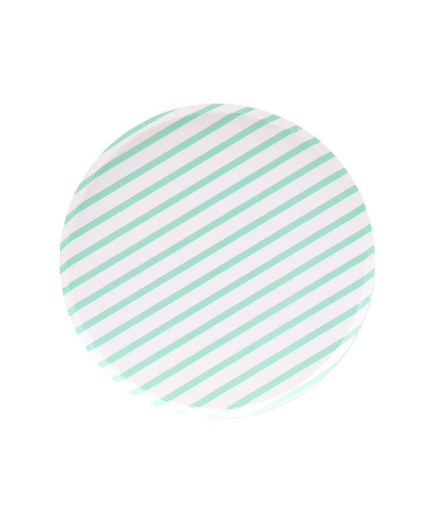 Mint Stripe Paper Party Plates (Small)-Party Love