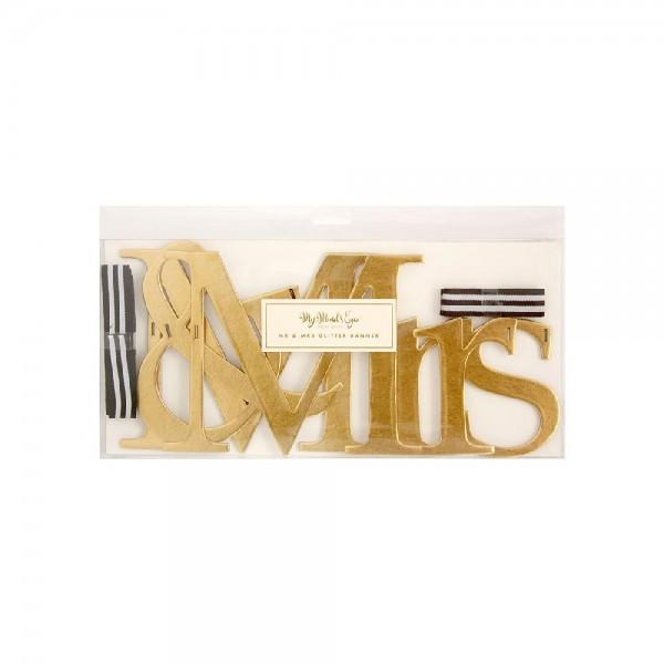Mr & Mrs Gold Sign - Wedding Decorations-Party Love