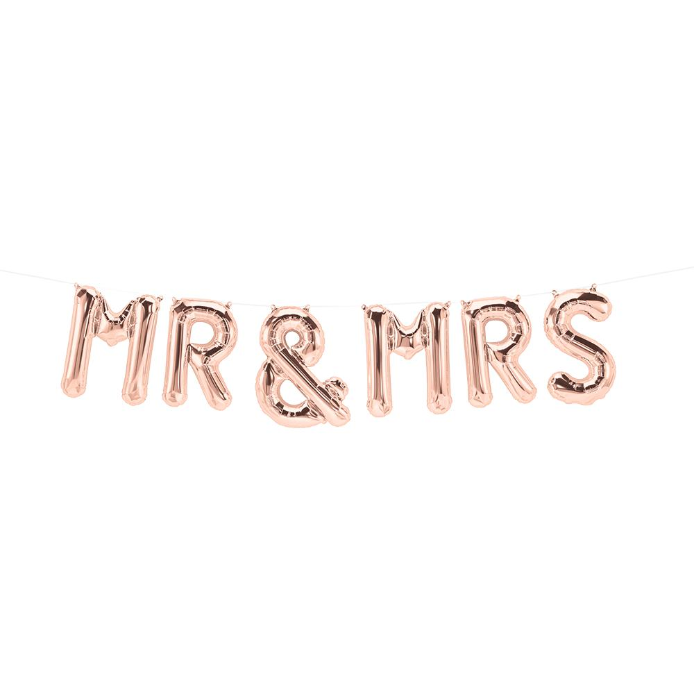 Mr & Mrs Rose Gold Foil Balloons-Party Love
