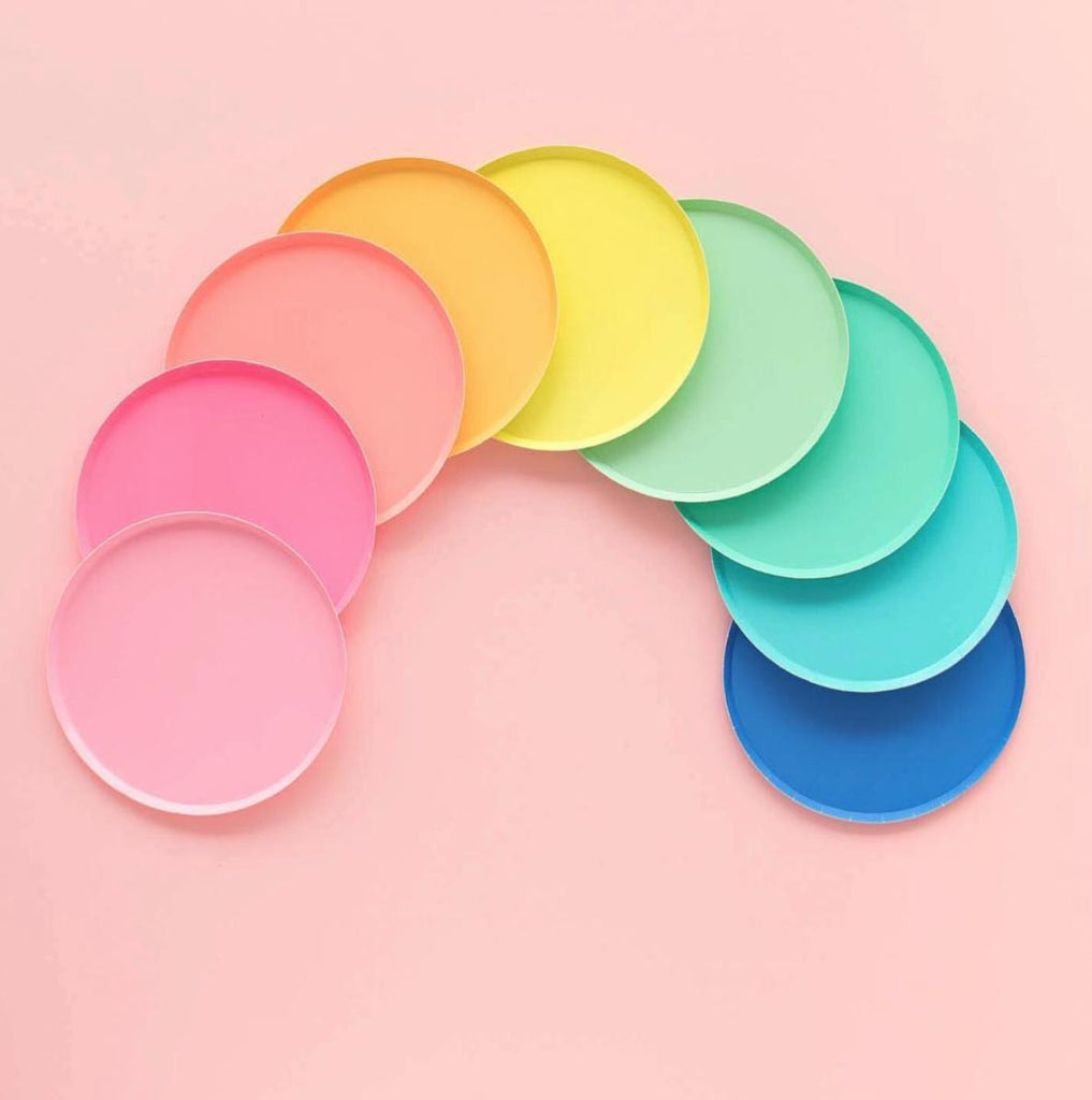 Neon Coral Paper Party Plates (Large)-Party Love