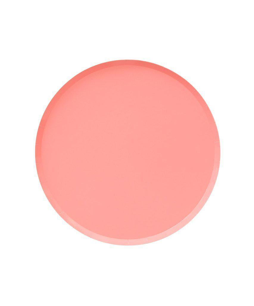 Neon Coral Paper Party Plates (Small)-Party Love