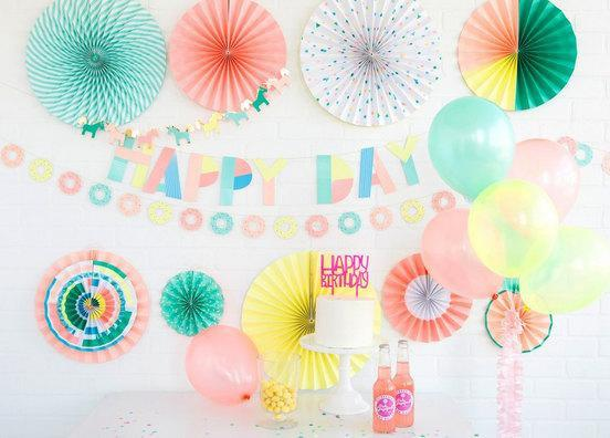 Neon Donut Bunting Banner (8ft)-Party Love