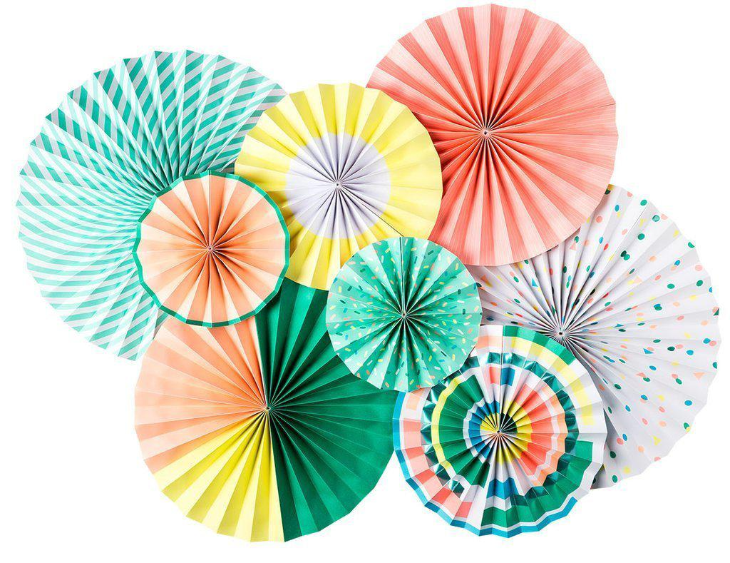 Neon Party Fans Party Decorations, Peach, Mint, Yellow, Green-Party Love