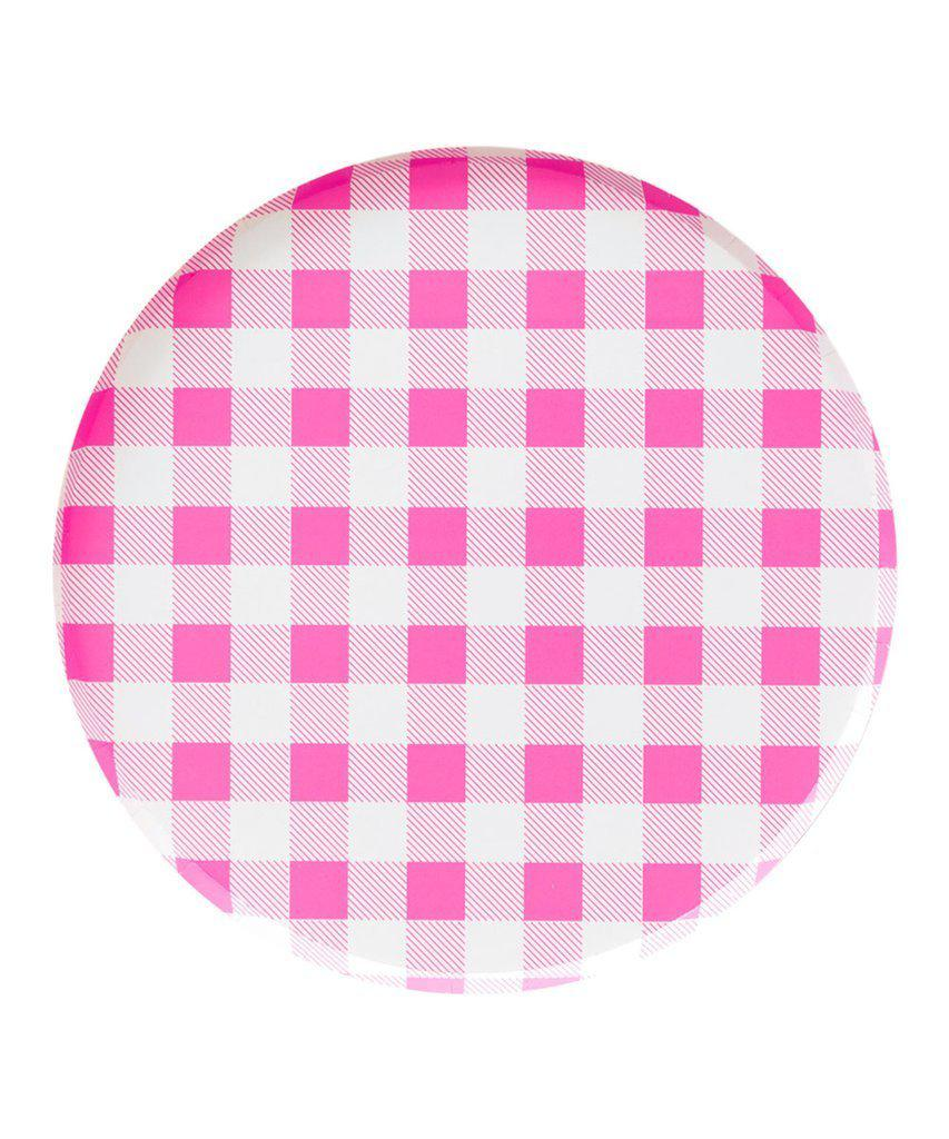 Neon Rose Pink Gingham Party Plates (Large)-Party Love