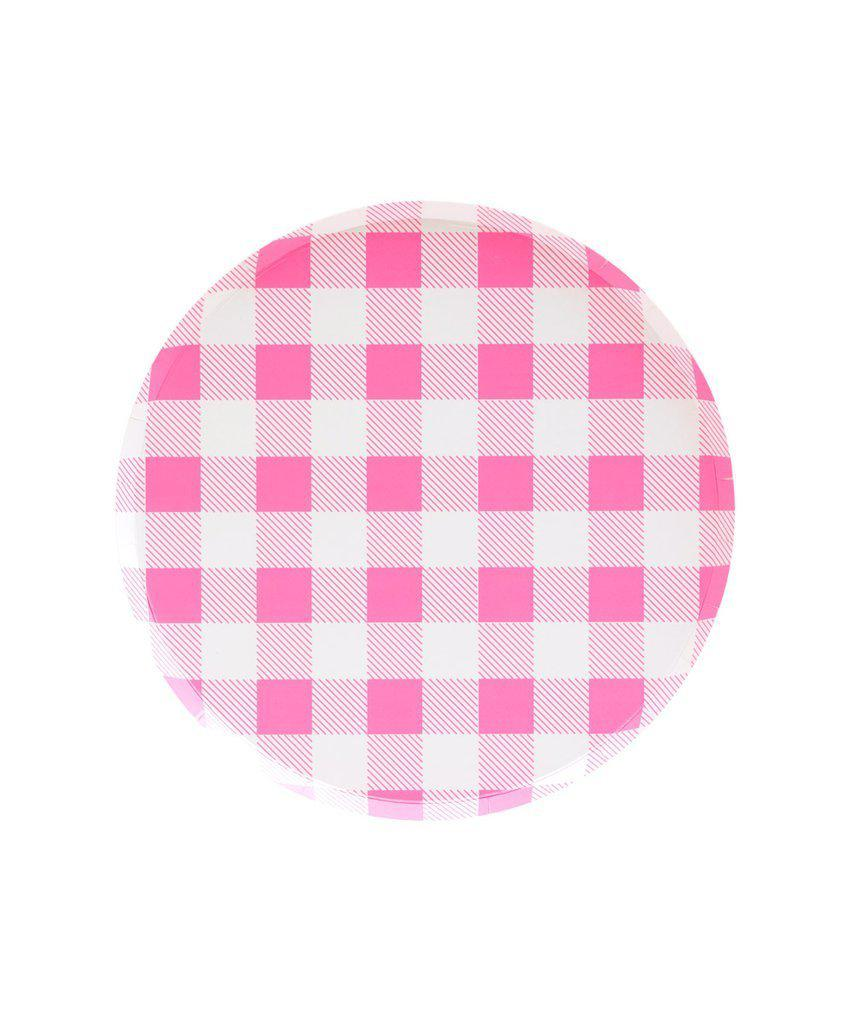 Neon Rose Pink Gingham Party Plates (Small)-Party Love