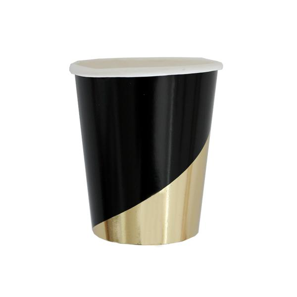 Noir - Black Colorblock Party Cups-Party Love