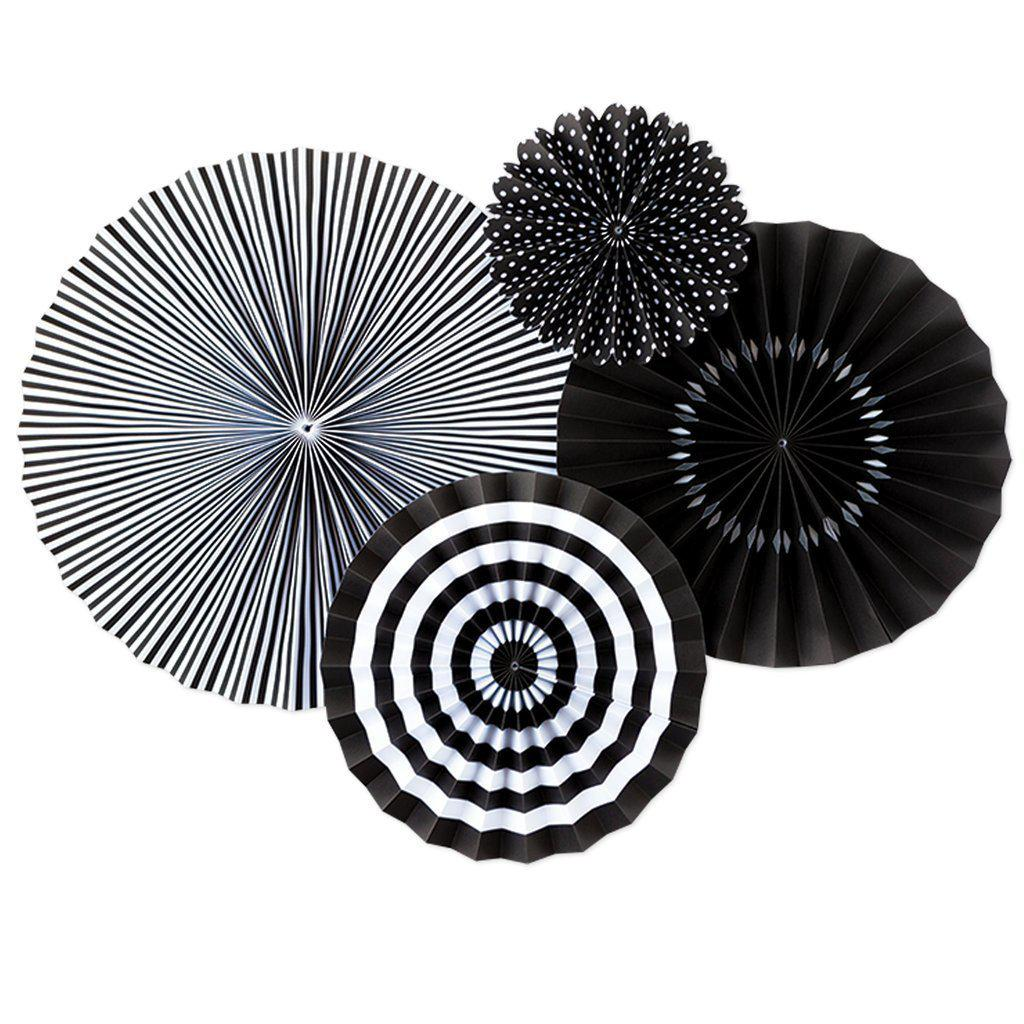 Onyx Black & White Paper Party Fan Party Decorations-Party Love