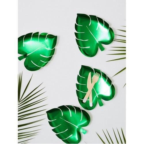 Palm Leaf Party Plates (Green)-Party Love