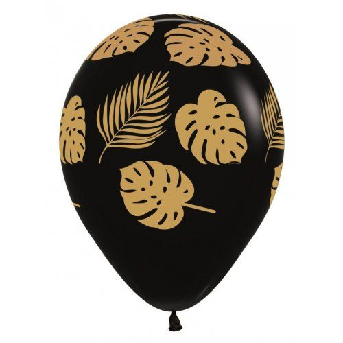 Gold Tropical Palm Leaves Black Balloons (10 Pack)-Party Love