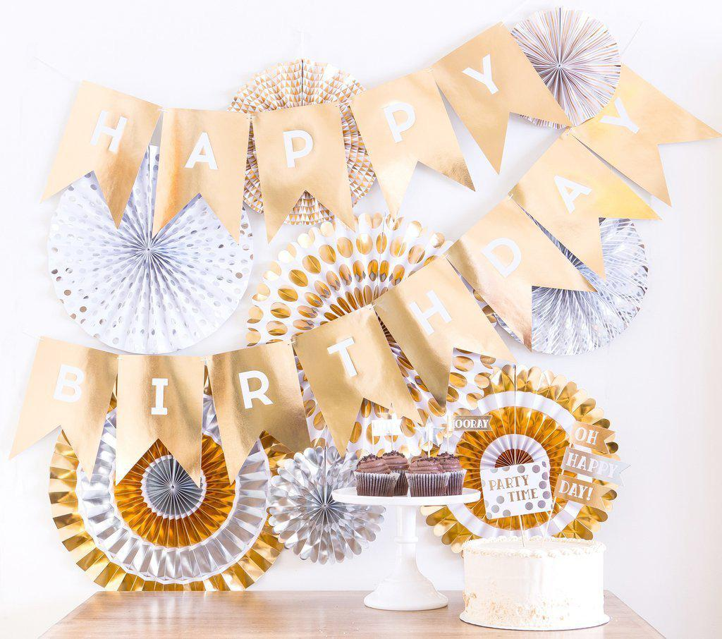 Paper Love – Metallic Gold & Silver Birthday Party Fans (Pack of 8)-Party Love