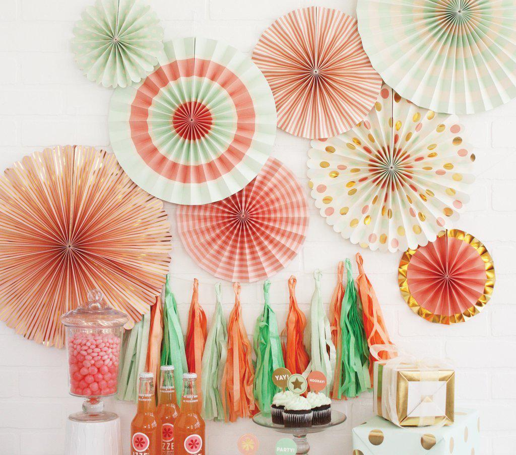 Paper Love Trend Party Fans, Coral, Mint, Gold (Pack of 8)-Party Love