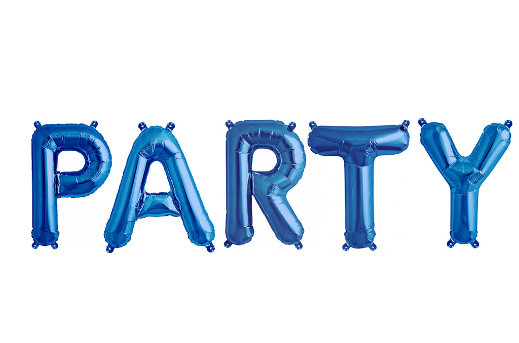 "40cm (16"") Party Letters Blue Foil Balloons-Party Love"