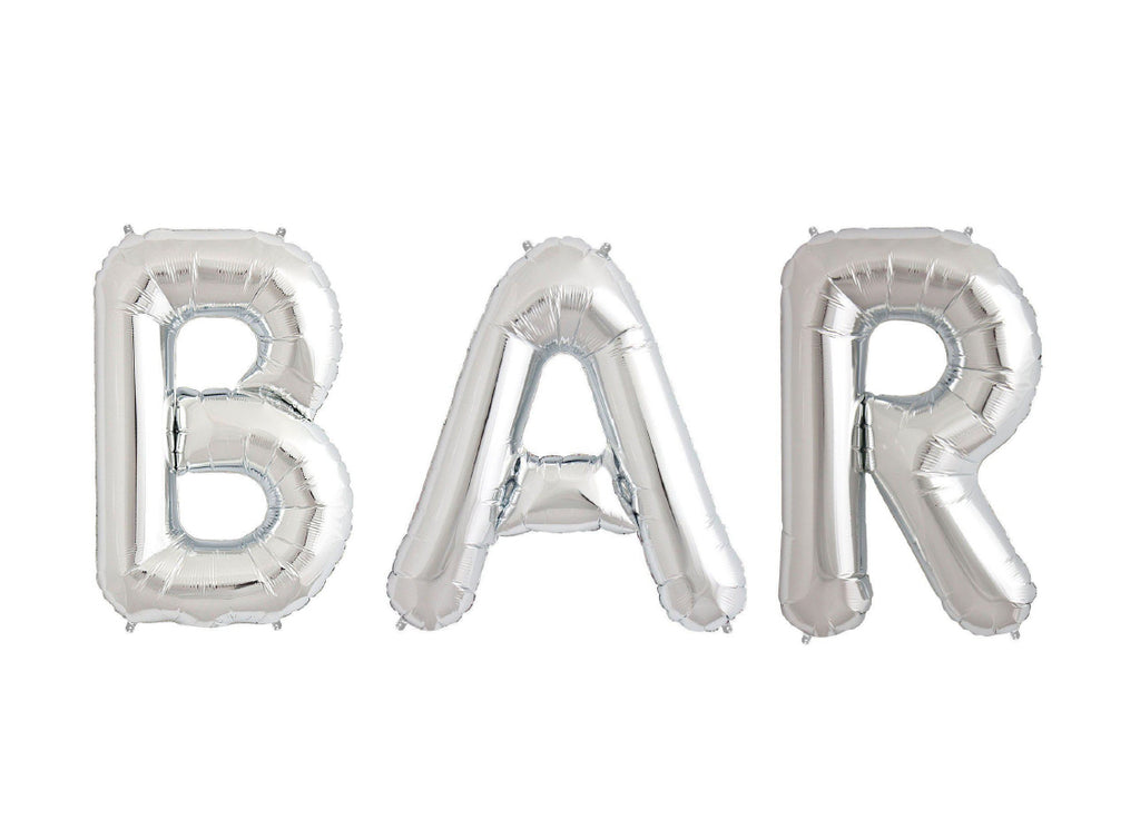 "Bar Letters 16"" Silver Foil Balloons-Party Love"
