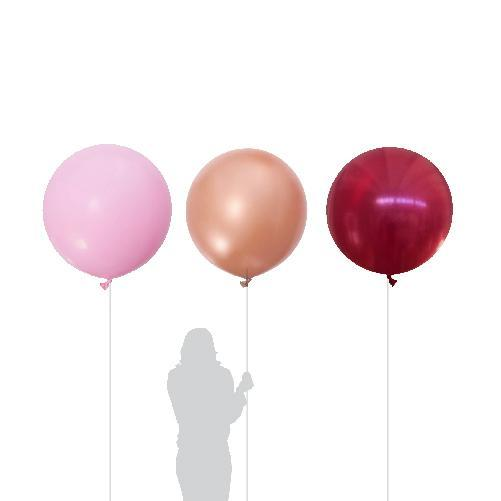 Passion Pop, Rose Gold, Burgundy, Pearl Pink Jumbo Balloons 90cm (3 Pack)-Party Love